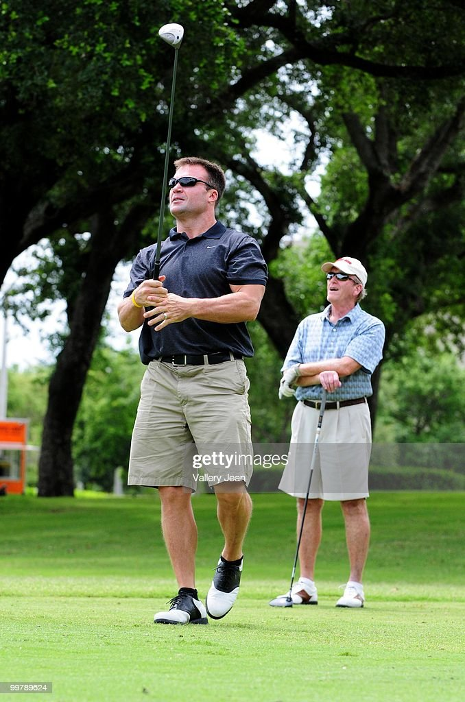 Zach Thomas (L), NFL free agent player, attends The Jason Taylor Celebrity Golf Classic at Grande Oaks Golf Club on May 17, 2010 in Davie, Florida.
