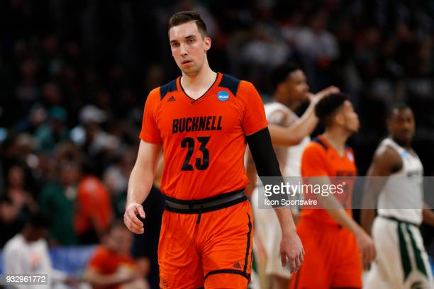 Zach Thomas of the Bucknell Bison during the NCAA Division I Men's Basketball Championship First Round game between the Michigan State Spartans and...