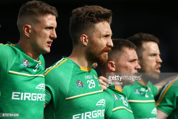 Zach Tuohy of Ireland looks on as the national anthems are sung during game two of the International Rules Series between Australia and Ireland at...