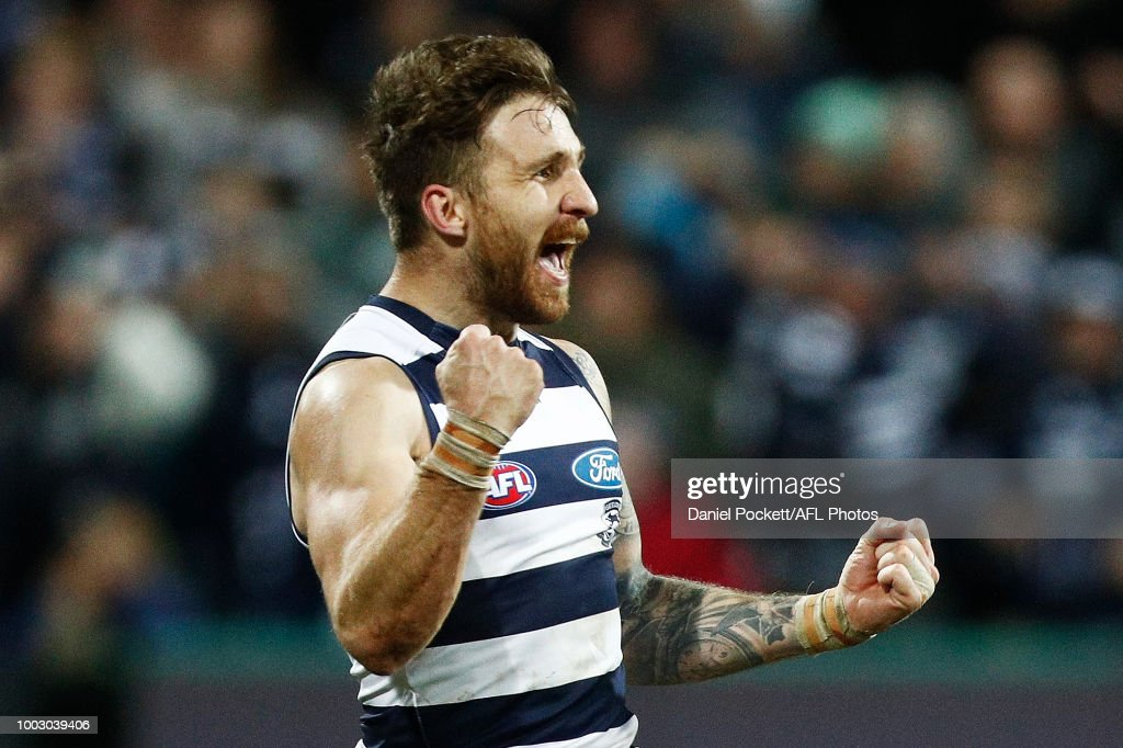 Zach Tuohy of the Cats celebrates after kicking the winning goal during the round 18 AFL match between the Geelong Cats and the Melbourne Demons at GMHBA Stadium on July 21, 2018 in Geelong, Australia.