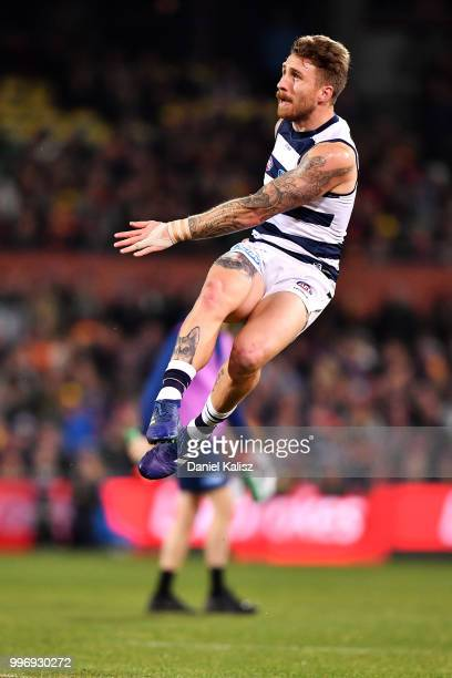 Zach Tuohy of the Cats kicks the ball during the round 17 AFL match between the Adelaide Crows and the Geelong Cats at Adelaide Oval on July 12 2018...