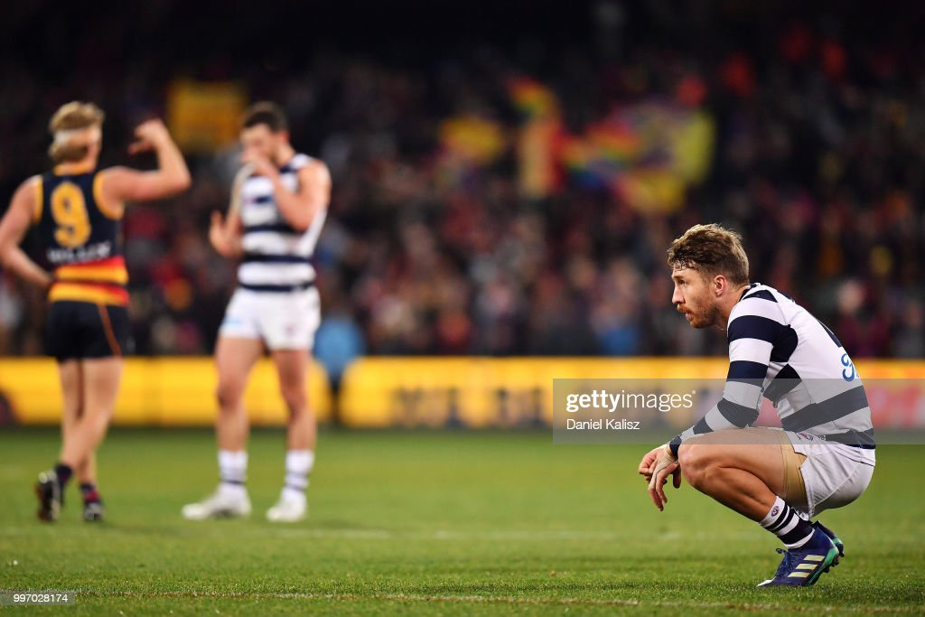 Zach Tuohy of the Cats looks on dejected after the final siren during the round 17 AFL match between the Adelaide Crows and the Geelong Cats at Adelaide Oval on July 12, 2018 in Adelaide, Australia.