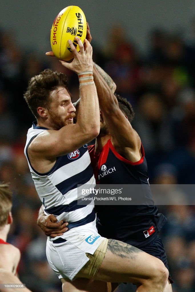 Zach Tuohy of the Cats marks the ball during the round 18 AFL match between the Geelong Cats and the Melbourne Demons at GMHBA Stadium on July 21, 2018 in Geelong, Australia.