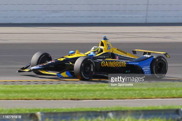 Zach Veach driver of the Gainbridge Honda drives during the IndyCar Series ABC Supply 500 on August 18 2019 at Pocono Raceway in Long Pond Pa