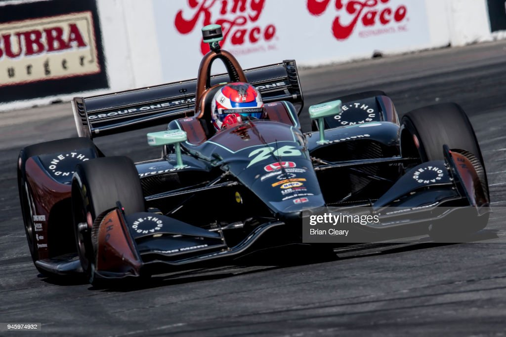 Zach Veach drives the #26 Honda IndyCar on the track during practice for the Toyota Grand Prix of Long Beach IndyCar race on April 13, 2018 in Long Beach California.