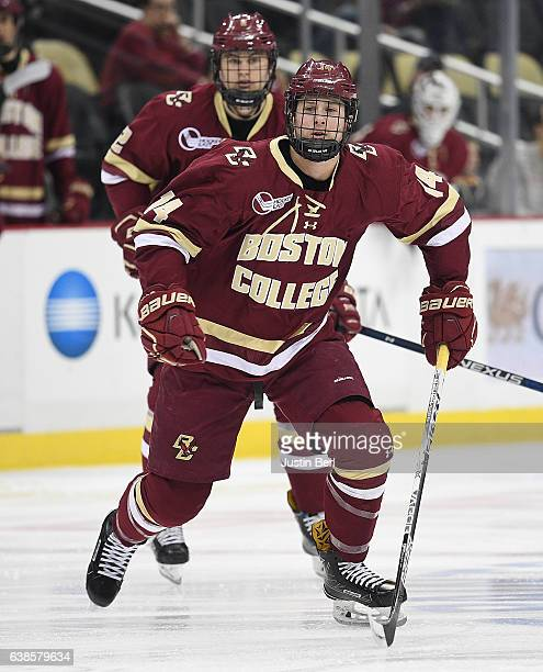 Zach Walker of the Boston College Eagles skates in the first period during the consolation game of the Three Rivers Classic hockey tournament at PPG...