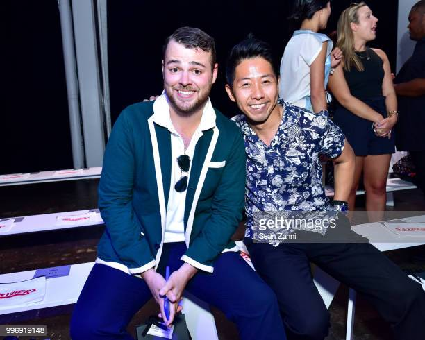 Zach Weiss and Chunky Shih attend the Todd Snyder S/S 2019 Collection during NYFW Men's July 2018 at Industria Studios on July 11 2018 in New York...