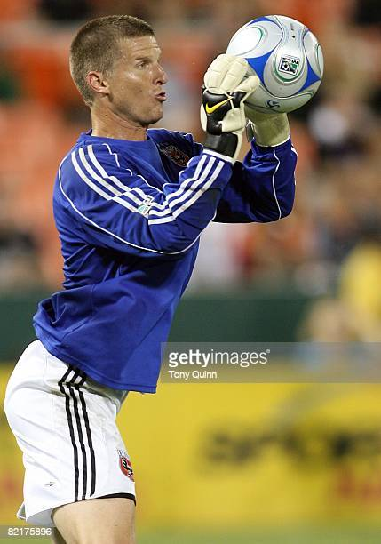 Zach Wells of DC United stops a shot during an MLS match at RFK Stadium against the Kansas City Wizards on August 2 2008 in Washington DC The match...