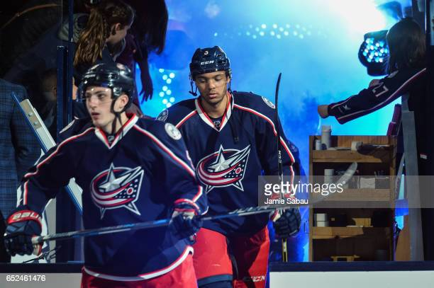 Zach Werenski of the Columbus Blue Jackets and Seth Jones of the Columbus Blue Jackets take the ice to play the Buffalo Sabres on March 10 2017 at...