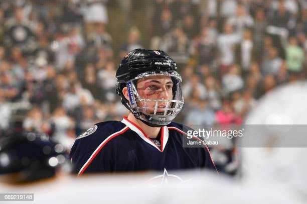 Zach Werenski of the Columbus Blue Jackets awaits a faceoff during the third period in Game Three of the Eastern Conference First Round against the...