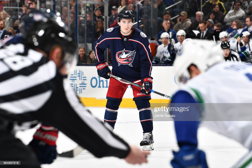 Zach Werenski #8 of the Columbus Blue Jackets awaits a face-off during the third period of a game against the Vancouver Canucks on January 12, 2018 at Nationwide Arena in Columbus, Ohio.