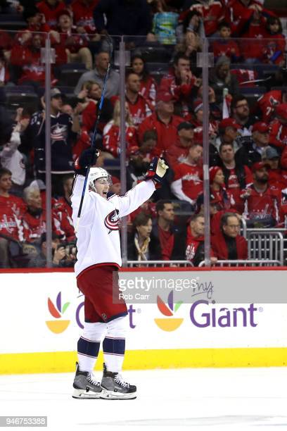 Zach Werenski of the Columbus Blue Jackets celebrates after the Blue Jackets won 54 in overtime against the Washington Capitals during Game Two of...