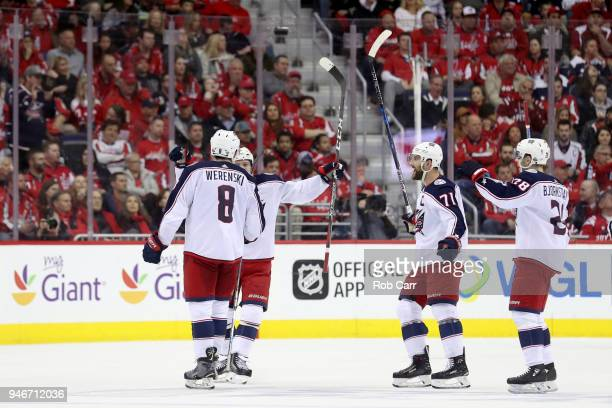 Zach Werenski of the Columbus Blue Jackets celebrates scoring a second period goal against the Washington Capitals during Game Two of the Eastern...