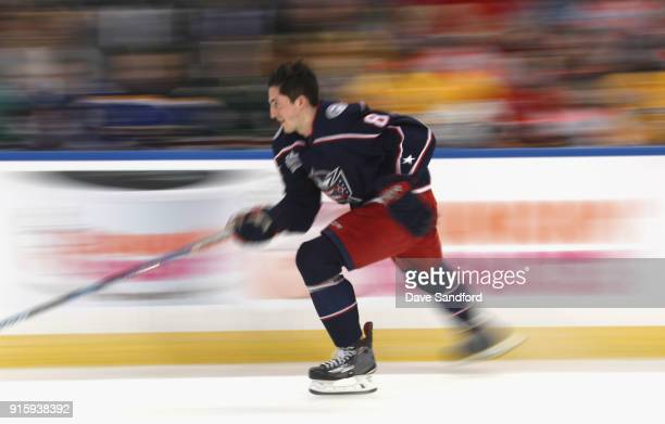 Zach Werenski of the Columbus Blue Jackets competes in the Enterprise NHL Fastest Skater during 2018 GEICO NHL AllStar Skills Competition at Amalie...