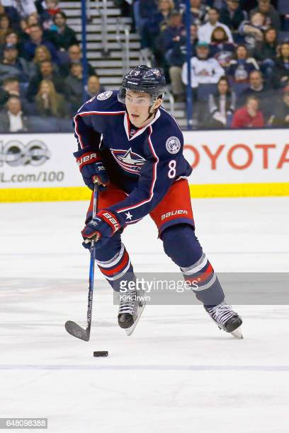 Zach Werenski of the Columbus Blue Jackets controls the puck during the game against the Minnesota Wild on March 2 2017 at Nationwide Arena in...