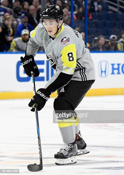 Zach Werenski of the Columbus Blue Jackets controls the puck during the 2018 Honda NHL AllStar Game between the Atlantic Division and the...