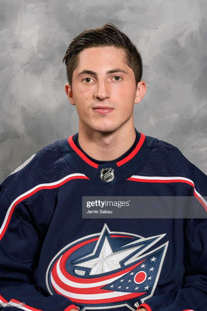 Zach Werenski #8 of the Columbus Blue Jackets poses for his official headshot for the 2017-18 season on September 14, 2017 at Nationwide Arena in Columbus, Ohio.