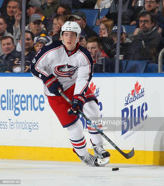 Zach Werenski of the Columbus Blue Jackets skates against the Buffalo Sabres during an NHL game at the KeyBank Center on March 11 2017 in Buffalo New...