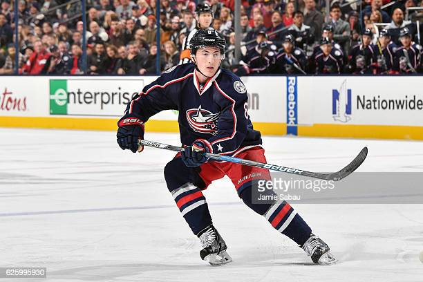 Zach Werenski of the Columbus Blue Jackets skates against the Calgary Flames on November 23 2016 at Nationwide Arena in Columbus Ohio