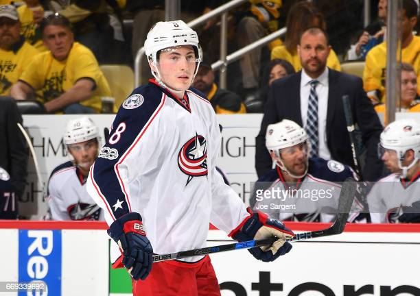 Zach Werenski of the Columbus Blue Jackets skates against the Pittsburgh Penguins in Game Two of the Eastern Conference First Round during the 2017...