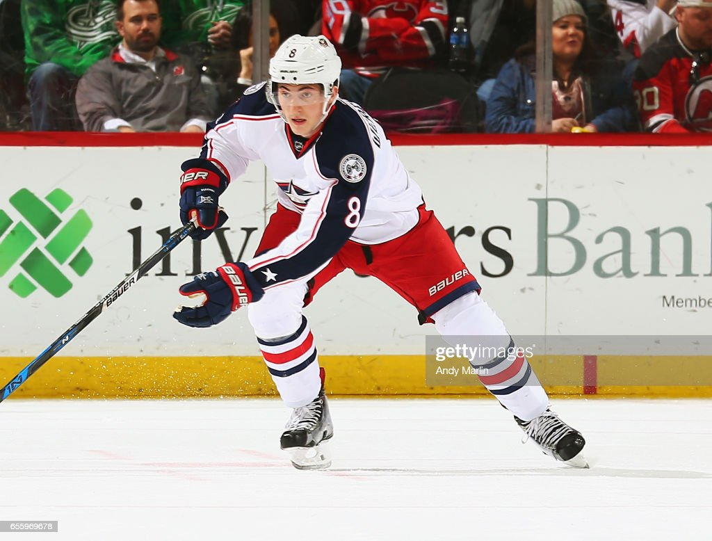 Zach Werenski #8 of the Columbus Blue Jackets skates against the New Jersey Devils during the game at Prudential Center on March 19, 2017 in Newark, New Jersey.