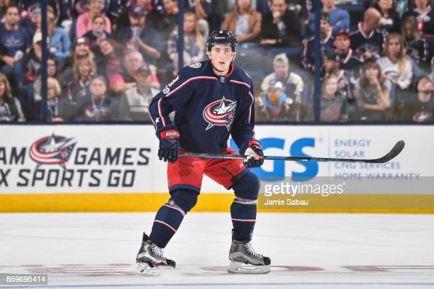 Zach Werenski of the Columbus Blue Jackets skates against the New York Islanders on October 6 2017 at Nationwide Arena in Columbus Ohio