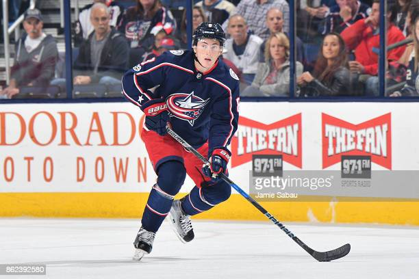 Zach Werenski of the Columbus Blue Jackets skates against the New York Rangers on October 13 2017 at Nationwide Arena in Columbus Ohio