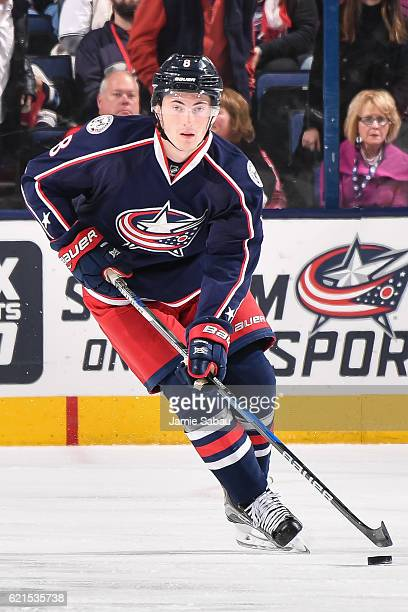 Zach Werenski of the Columbus Blue Jackets skates against the Montreal Canadiens on November 4 2016 at Nationwide Arena in Columbus Ohio Columbus...