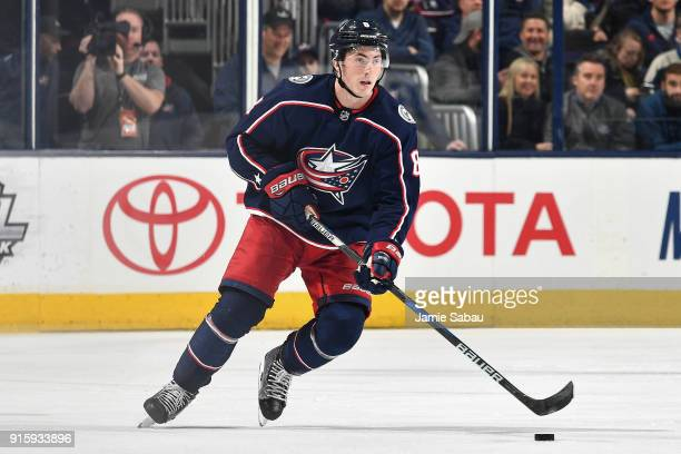 Zach Werenski of the Columbus Blue Jackets skates against the Washington Capitals on February 6 2018 at Nationwide Arena in Columbus Ohio