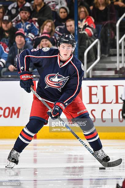 Zach Werenski of the Columbus Blue Jackets skates against the Colorado Avalanche on November 21 2016 at Nationwide Arena in Columbus Ohio