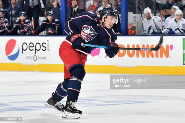 Zach Werenski of the Columbus Blue Jackets skates against the Tampa Bay Lightning in Game Four of the Eastern Conference First Round during the 2019...