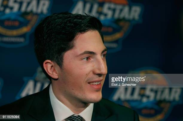 Zach Werenski of the Columbus Blue Jackets speaks at a post game press conference after the 2018 Honda NHL AllStar Game at Amalie Arena on January 28...