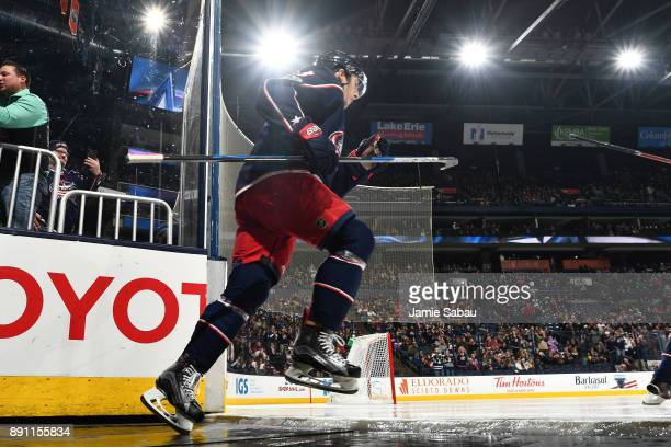 Zach Werenski of the Columbus Blue Jackets takes the ice before a game against the Arizona Coyotes on December 9 2017 at Nationwide Arena in Columbus...