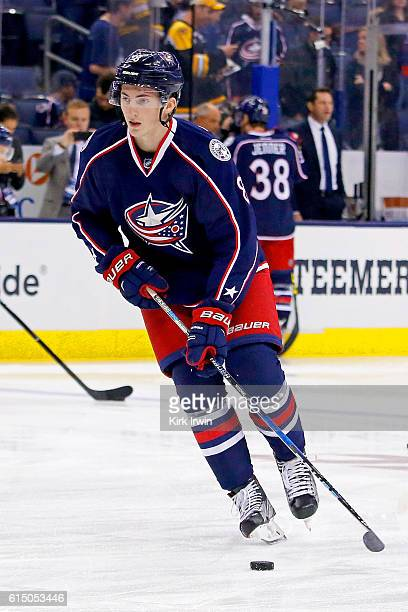 Zach Werenski of the Columbus Blue Jackets warms up prior to the start of the game against the Boston Bruins on October 13 2016 at Nationwide Arena...
