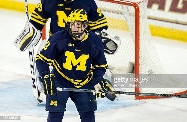 Zach Werenski of the Michigan Wolverines skates against the Boston College Eagles during NCAA hockey at Kelley Rink on December 13 2014 in Chestnut...