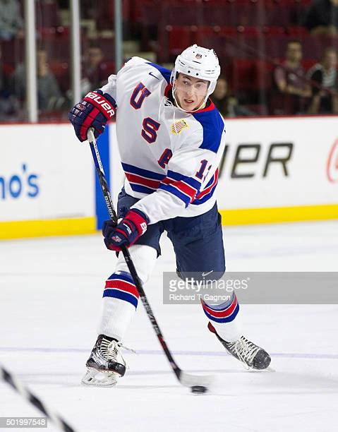 Zach Werenski of the USA National Junior Team skates during NCAA exhibition hockey against the Massachusetts Minutemen at the Mullins Center on...