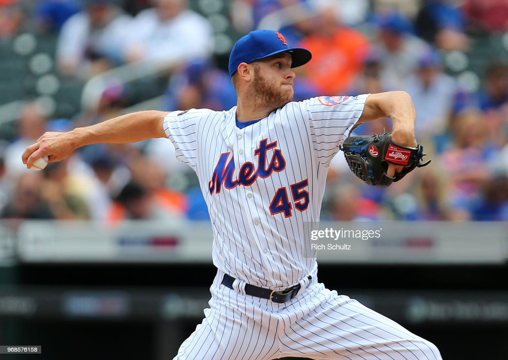 Zach Wheeler #45 of the New York Mets delivers a pitch during the second inning of a game against the Baltimore Orioles at Citi Field on June 6, 2018 in the Flushing neighborhood of the Queens borough of New York City.