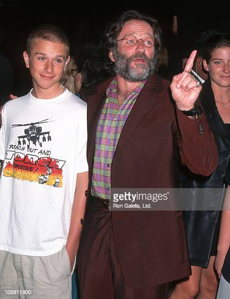 Zach Williams and Robin Williams during Premiere of 'Father's Day' at Los Angeles in Los Angeles CA United States