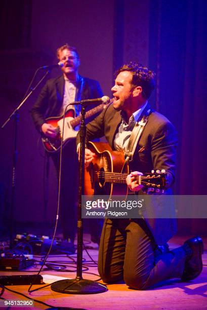 Zach Williams of The Lone Bellow performs on stage at the Aladdin Theater in Portland Oregon United States on 8th March 2018