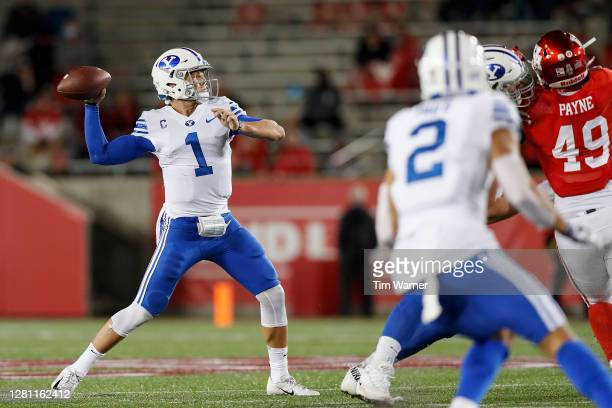 Zach Wilson of the BYU Cougars throws a pass in the second half against the Houston Cougars at TDECU Stadium on October 16, 2020 in Houston, Texas.