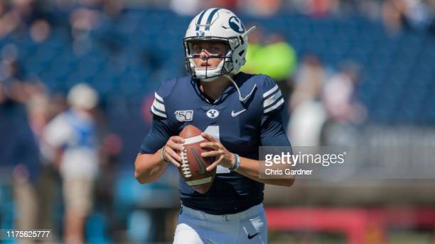 Zach Wilson of the BYU Cougars warms up before their game against the USC Trojans at LaVell Edwards Stadium on September 14, in Provo, Utah.