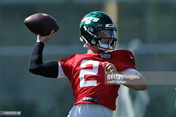 Zach Wilson of the New York Jets throws at Atlantic Health Jets Training Center on July 30, 2021 in Florham Park, New Jersey.