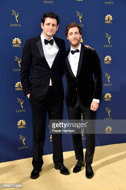 Zach Woods and Thomas Middleditch attend the 70th Emmy Awards at Microsoft Theater on September 17 2018 in Los Angeles California