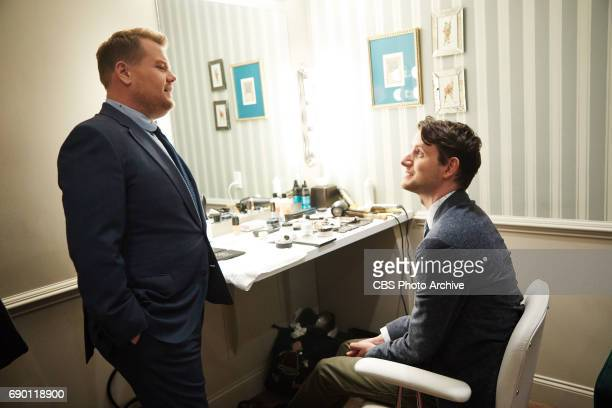 Zach Woods chats in the green room with James Corden during The Late Late Show with James Corden Thursday May 25 2017 On The CBS Television Network