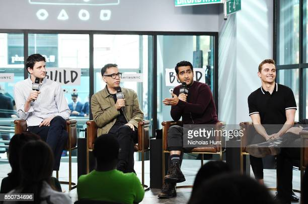 Zach Woods Fred Armisen Kumail Nanjiani and Dave Franco visit the Build Series to discuss the animated film The LEGO Ninjago Movie at Build Studio on...