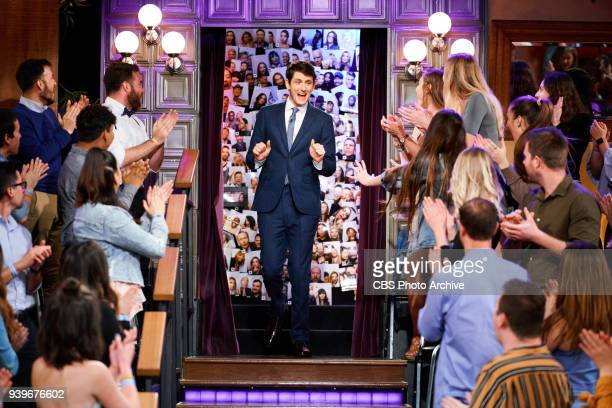 Zach Woods greets the audience during The Late Late Show with James Corden Wednesday March 28 2018 On The CBS Television Network