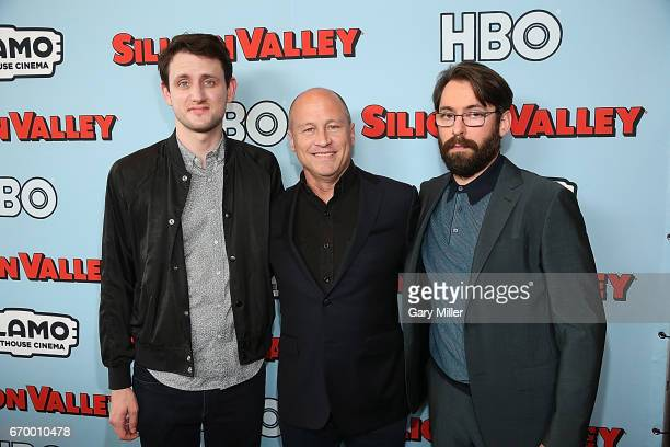 Zach Woods Mike Judge and Martin Starr attend the premiere of HBO's 'Silicon Valley' 4th season at the Alamo Drafthouse South Lamar on April 18 2017...