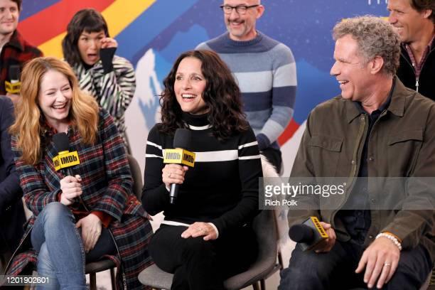 Zach Woods Miranda Otto Zoe Chao Jim Rash Julia LouisDreyfus Will Ferrell and Nat Faxon of 'Downhill' attend the IMDb Studio at Acura Festival...
