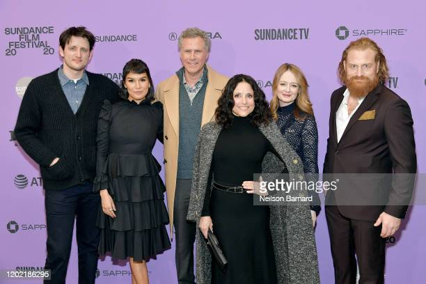 Zach Woods Zoë Chao Will Ferrell Julia LouisDreyfus Miranda Otto and Kristofer Hivju attend the 2020 Sundance Film Festival Downhill Premiere at...