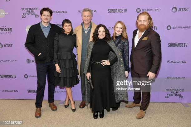 Zach Woods Zoë Chao Will Ferrell Julia LouisDreyfus Miranda Otto and Kristofer Hivju attend the 2020 Sundance Film Festival Downhill Premiere at...